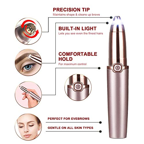 Eyebrow Razor Painless-Precision Eyebrow Hair Remover Electric Eyebrow Trimmer Shaver Tool with Light for Face Lips Nose Facial Hair Removal for Women Men, (Rose Gold)