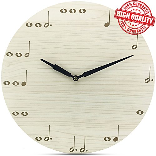 MUSIC Non-Ticking Wooden Wall Clock