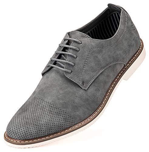 (Marino Avenue Mens Casual Shoes, Suede Business Dress Shoes for Men - Gray - 9.5 D(M) US)