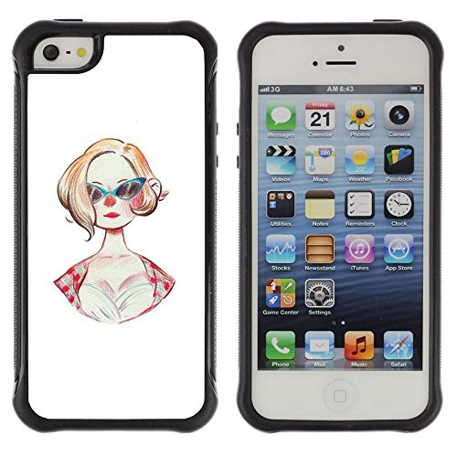 1950s Hairstyle (Pulsar iFace Series Soft TPU Skin Bumper Case Cover for Apple iPhone SE / iPhone 5 / iPhone 5S , Sunglasses 50S Fashion Hairstyle Pin Up Dress)