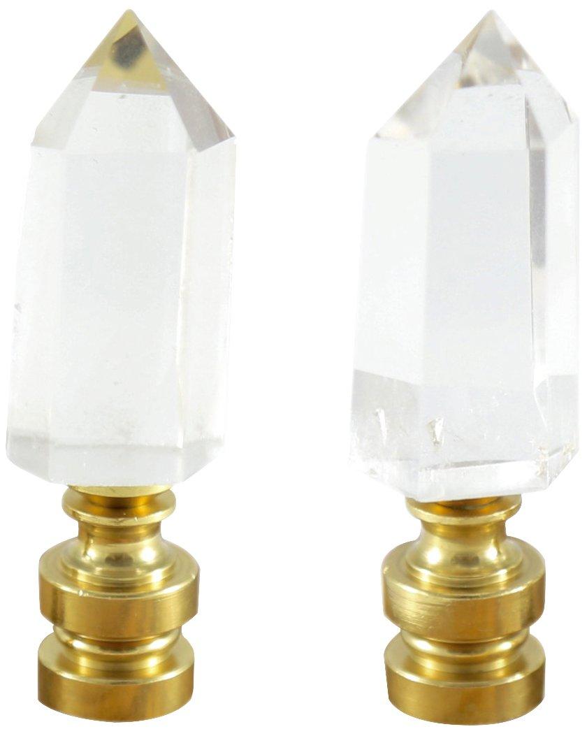 Stephen D. Evans F-F-CQUA-P Clear Quartz Crystal Pt. Lamp Pair Finial