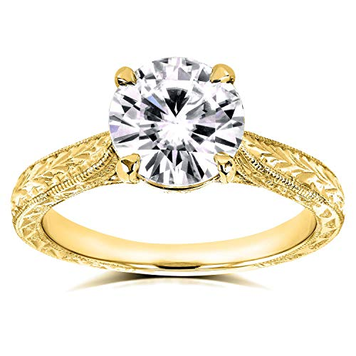 (Antique Style Moissanite Engagement Ring 1 1/2 CTW 14k Yellow Gold, Size 6)