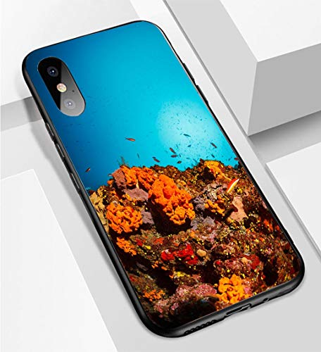 iPhone X/XS Ultra-Thin Phone case Underwater Sea Life Coral Reef Orange sea Sponge Anti-Drop Anti-Slip Soft Convenient Protective Shell