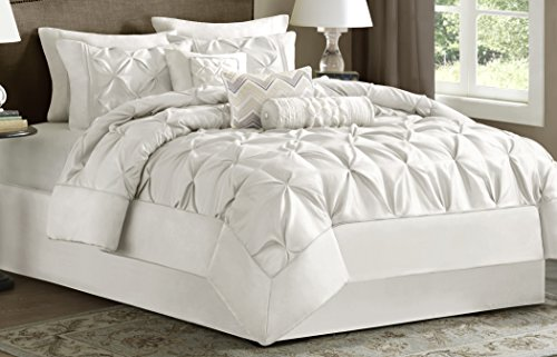 Set Comforter Tufted (Madison Park Laurel Full Size Bed Comforter Set Bed In A Bag - White, Wrinkle Tufted Pleated – 7 Pieces Bedding Sets – Faux Silk Bedroom Comforters)