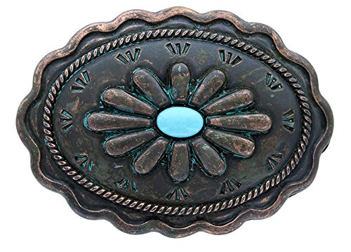 Antique Copper Patina Turquoise Inset Belt Buckle 1 3/8