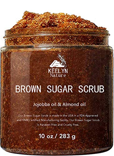 Brown Sugar Body & Face Scrub - Keelyn Natural with Essential Oils for Deep Cleansing & Gentle Exfoliation Hydrating, Moisturizing & Skin Smoothing Reduce Acne Eczema Wrinkles Anti-aging 10 Oz