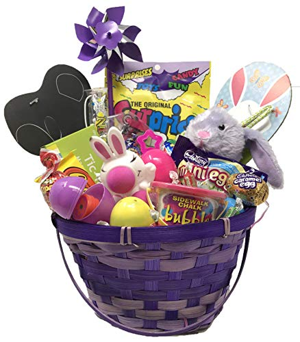 Premade Purple Easter Basket for Kids with Plush Bunny, Variety of Popular Toys, Cadbury Eggs, and Personalized Gift Card. Over 70 -