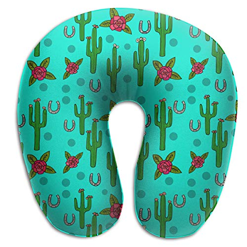 Pummbaby Cactus Rose Desert U-Shaped Neck Pillow Rest Airplane Support Soft Travel Ornament Decorations Decor Fun Soft Tv Living Room Decorative Theme Outdoor Indoor Party ()