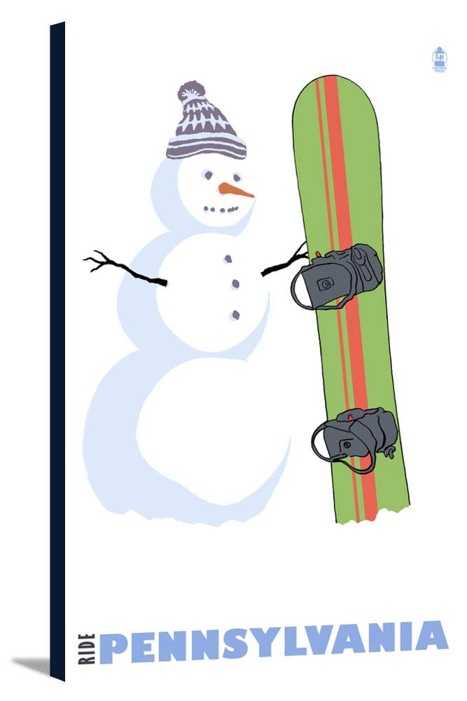 Pennsylvania – Snowman withスノーボード 16 x 24 Gallery Canvas LANT-3P-SC-28738-16x24 B01842Z316  16 x 24 Gallery Canvas
