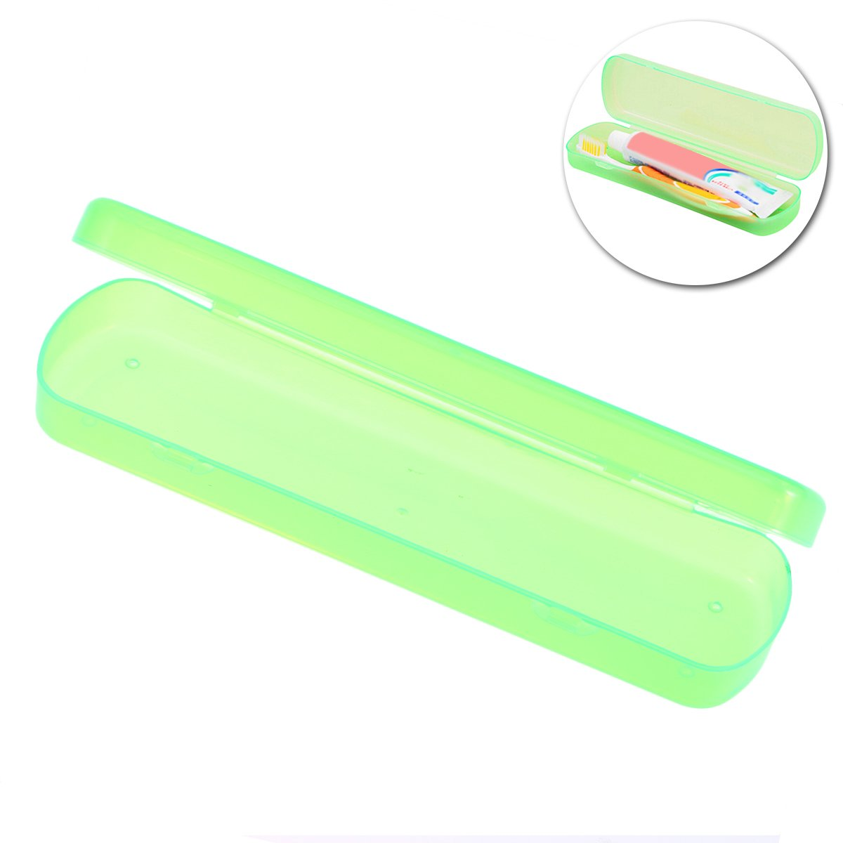 ounona cepillo de dientes organizador titular caso bolsillo de pl/ástico pasta de dientes proteger caja contenedor de almacenamiento para Viajes Camping verde