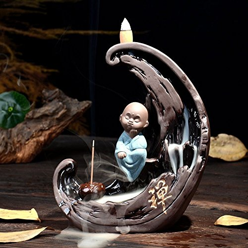 Moon Tower Waterfall Backflow Incense Burner Censer Holder Zisha Zen Buddhism Taoist monk Incense Burner