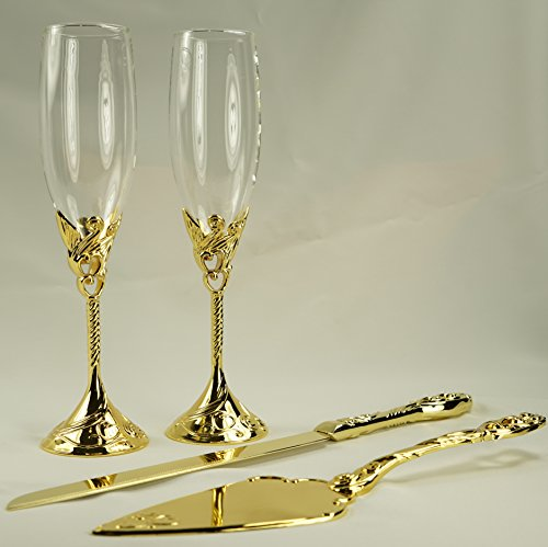 wedding cake serving set and flutes unik occasions wedding toasting glasses and cake serving 24298