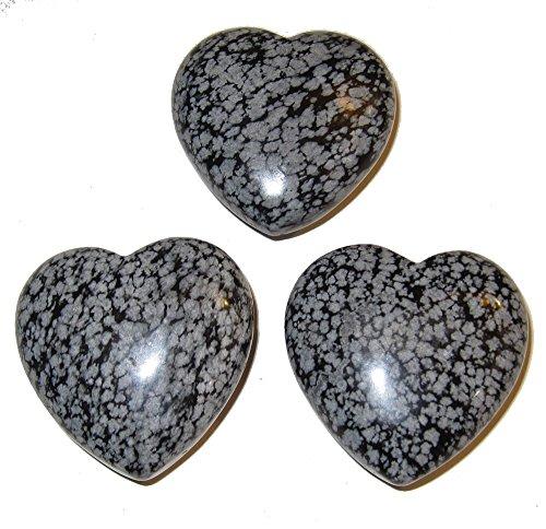 Obsidian Heart Snowflake 03 Set of Black White Love Manifestation Romance Stones 1.8