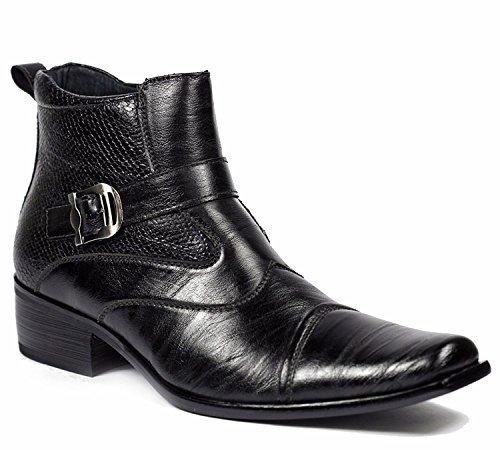 Delli Aldo Men's Black Buckle Strap Ankle High Dress Boots Shoes 9