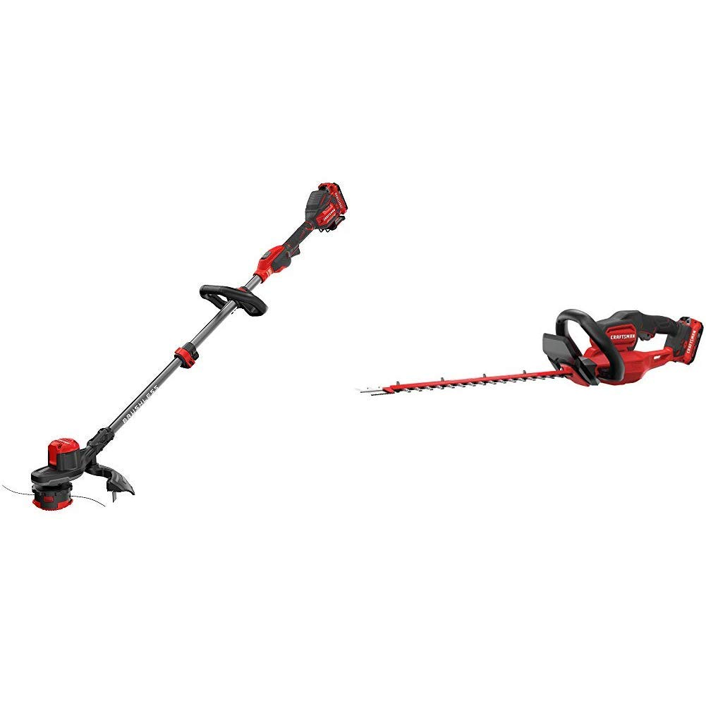 CRAFTSMAN CMCST920D2 V20 Brushless WEEDWACKER Cordless String Trimmer with Quickwind with CMCHTS820D1 V20 22'' Cordless Hedge Trimmer