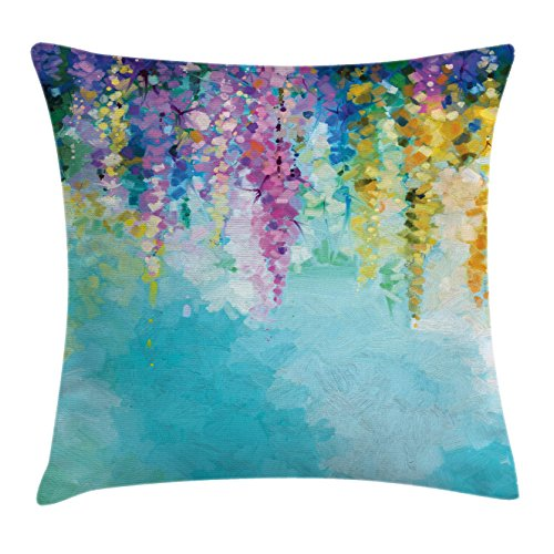 Spring Floral Pillow - Ambesonne Watercolor Flower Home Decor Throw Pillow Cushion Cover, Ivy Romantic and Inspiring Landscape Spring Floral Art Nature Theme, Decorative Square Accent Pillow Case, 16 X 16 Inches, Multi