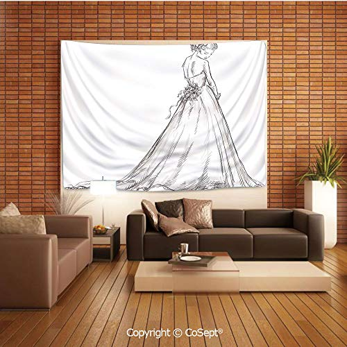 PUTIEN Natural Luxury Tapestry,Fairytale Ending of a Love Story Princess Sketchy Bride with Flowers Image,Tapestry Art Print Tapestry for RoomBlack and White