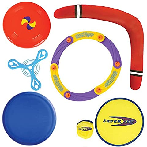 Flying Fun Set by ArtCreativityTM - The Ultimate Outdoor Play Kit with 6 Lawn & Yard Games - Frisbee, Saucer, Collapsible Disc, Foam Boomerang, Flying Ring, and Glider (Nice Shot Snoopy)