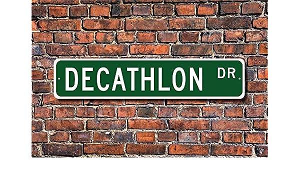 MNUT Letrero de Calle de Metal Decathlon con diseño de 10 Pistas de Disfraz, Estrellas, de Aluminio, para Valla de jardín, 40, 6 x 10, 2 cm: Amazon.es: Jardín