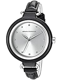 Armani Exchange Women's 'Smart' Quartz Stainless Steel and Leather Automatic Watch, Color:Black (Model: AX4242)