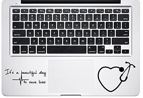 It's a Beautiful Day to Save Lives Derek Quote Grey's Anatomy Heart Stethoscope Macbook Laptop Stickers Decals Vinyl Die Cut Decals