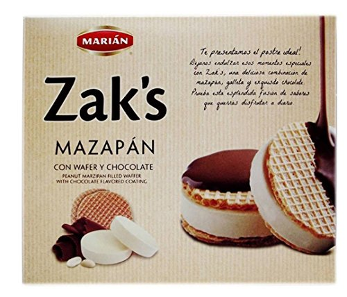 Zak's Mazapan Wafer Chocolate Covered Marzipan Peanut Candy 18 Pieces in Box each piece 0.84 oz Classico Classic Mexican Confection Snacks Packs de la orquidea