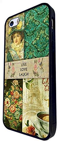 089 - Vintage Shabby Chic Live Love Laugh Floral Roses Design iphone SE - 2016 Coque Fashion Trend Case Coque Protection Cover plastique et métal - Noir