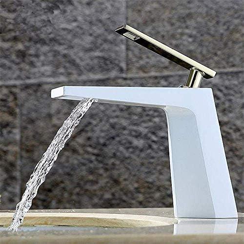 Honana 蛇口, シンク単穴温水と冷水の蛇口、洗面台流域の滝の蛇口スクエアフル・銅ブラックバスルーム キッチン蛇口 混合水栓