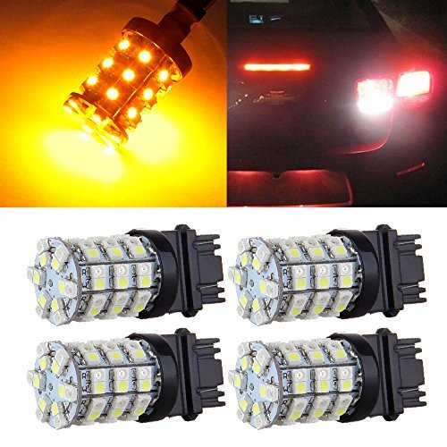 cciyu 3157 60-SMD Dual Color Switchback LED Bulbs 3056 3156 3357 3457 LED Light Bulbs Replacement fit for Car Turn Brake Signal Light (yellow)