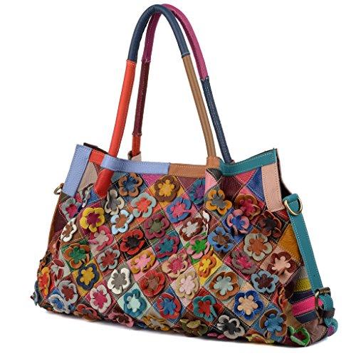 Multicolor Yaluxe Tote Shoulder Genuine Body Leather Spring Women's Cross Bag Stripe Flower Lambskin E4gqPrE8wx