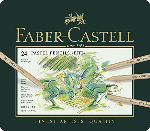 Faber-Castel FC112124 PITT Pastel Pencils In A Metal Tin (24 Pack), (Pastel Pencil)