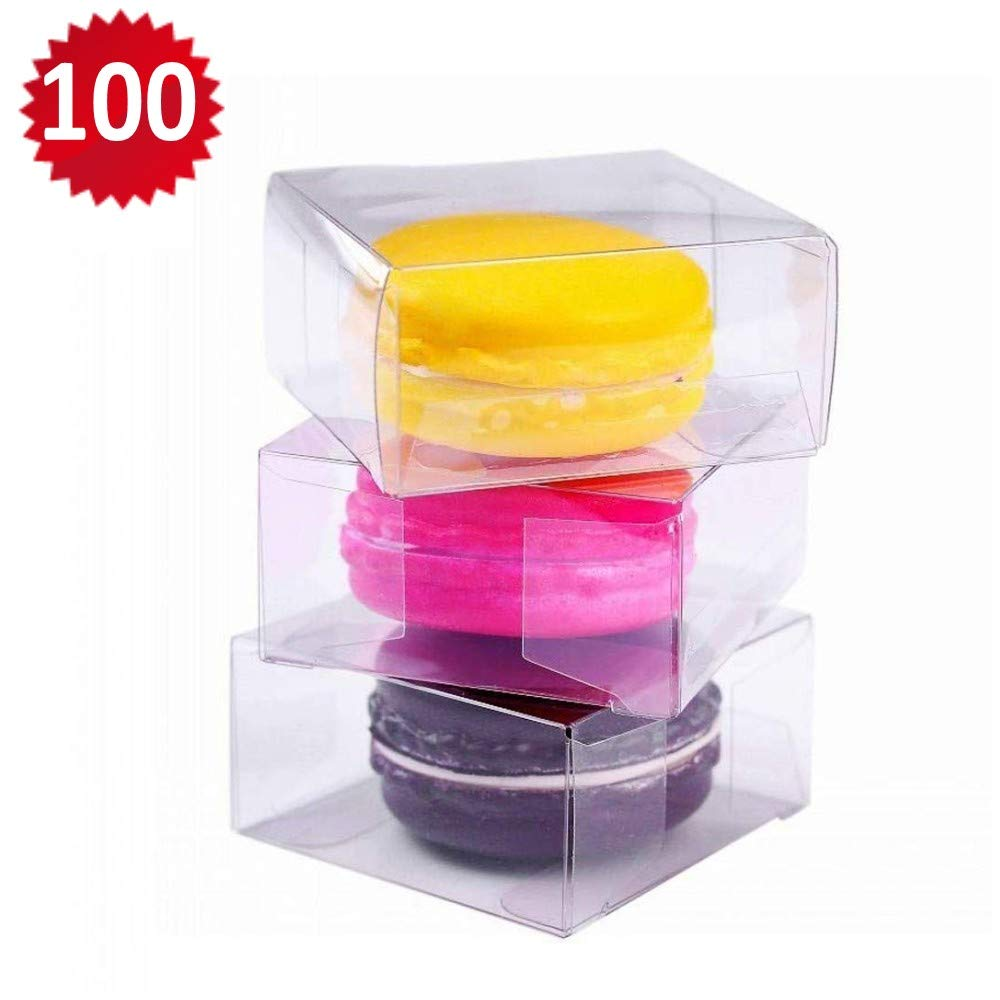 RomanticBaking 100pcs 2.17'' × 2.17'' × 1.38'' Inch Plastic Clear Single Macaron Box for Wedding Favors Baby Shower Candy Box by RomanticBaking