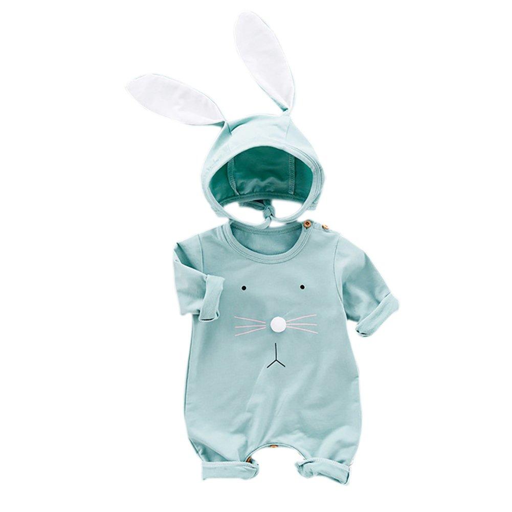 Baywell Baby Jungen Mädchen Overall, Cartoon Kaninchen Muster Niedlich Strampler Baby Onesie + Hut für 3-24 Monate