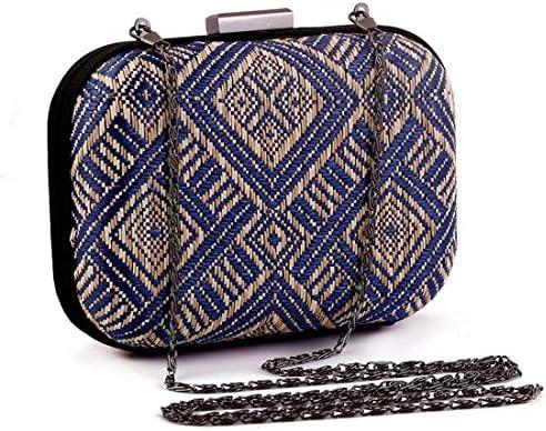 ウィメンズハンドバッグ、織ハンドバッグ、クラフトイブニングトートバッグ小銭入れ15.5 * 11.5 * 5.5 Cm(カラー:ブルー) 美しいファッション (Color : Blue)