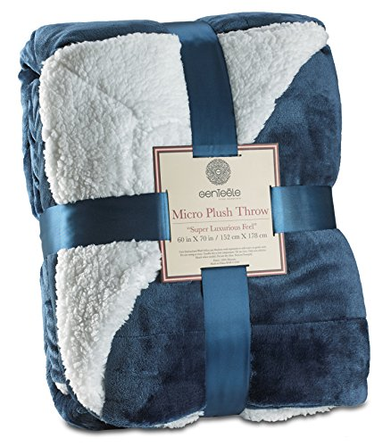 Genteele Sherpa Throw Blanket Super Soft Reversible Ultra Luxurious Plush Blanket (50' X 60', Navy)
