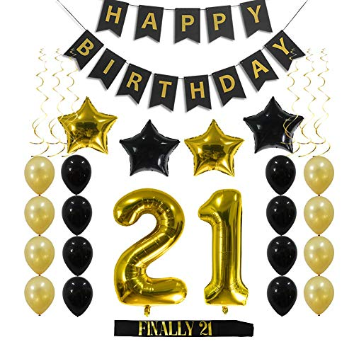 21st Birthday Decorations Party Supplies Gift for Her/Him - 21 Birthday Sash, Happy Birthday Banner, 21 Gold Number Balloons, Sparkling Hanging Swirls, Black and Gold -
