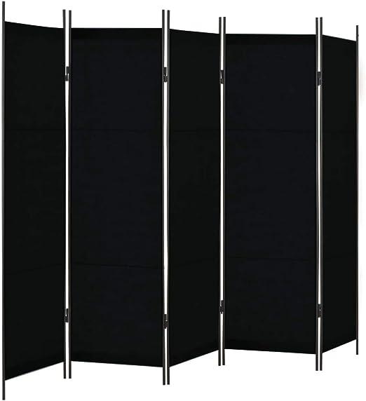 vidaXL Biombo de 5 Paneles 250x180 cm Hogar Interior Exterior Muebles Decoración Diseño Bricolaje Mobiliario Casa Separador Espacios Negro: Amazon.es: Hogar
