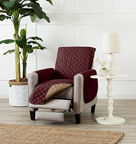 Deluxe Reversible Quilted Furniture Protector. Perfect for Families with Pets and Kids. (Recliner - Burgundy/Taupe)