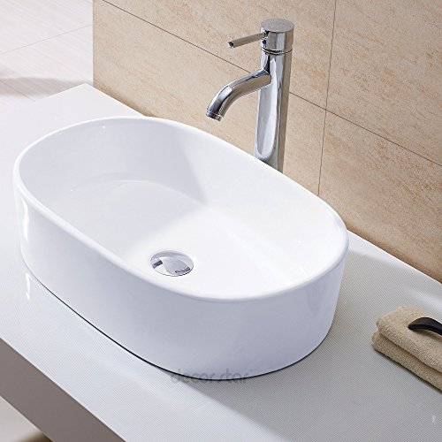 Oval Porcelain Sink (Decor Star CB-002 Bathroom Porcelain Ceramic Vessel Vanity Sink Art Basin)