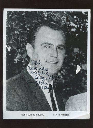 Boston Patriots AFL Football Coach John Mazur Autographed Photo Hologram