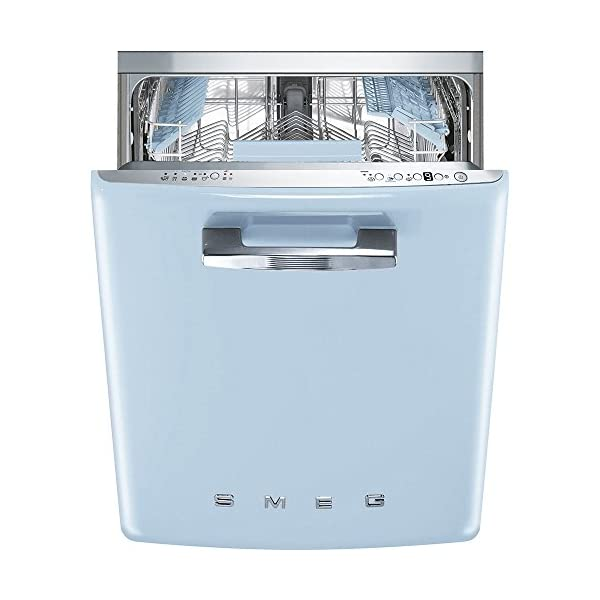 """Smeg 24"""" 50s Retro Style Fully Integrated Dishwasher with 13 Place Settings Full Size Tub 10 Wash Cycles, Pastel Blue 1"""