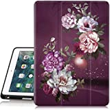 iPad 6th/5th Generation Case, Hocase Trifold Folio Smart Case with Apple Pencil Holder, Auto Sleep/Wake Feature, Soft TPU Back Cover for iPad A1893/A1954/A1822/A1823 - Royal Purple/White Flowers