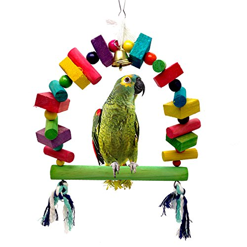 Mrli Pet Bird Swing Bridge Toys with Colorful Wooden Knots Block Hanging Bells for Parakeets Cockatiels Conures Macaws Parrots Love Birds Finches Climb Ladder Training by Mrli Pet