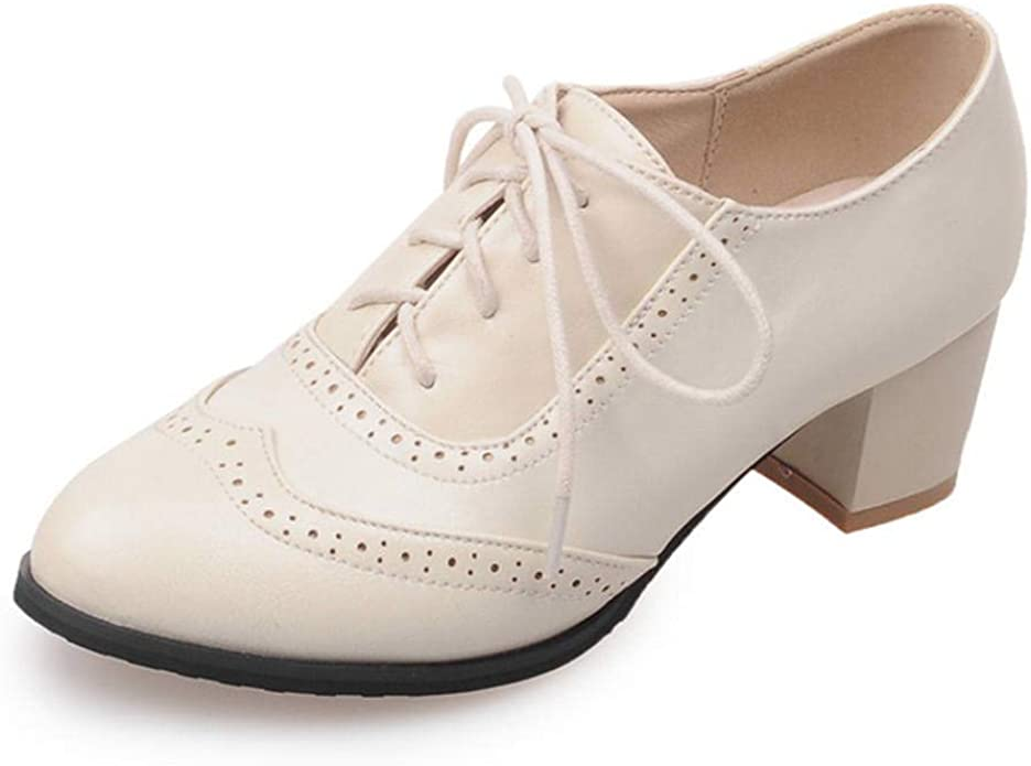 Vintage 1920s Shoe Styles Kaloosh Womens Fashion Lace Up Carving Block Heels Oxfords Daily Dress Retro Brogues Shoes £33.99 AT vintagedancer.com