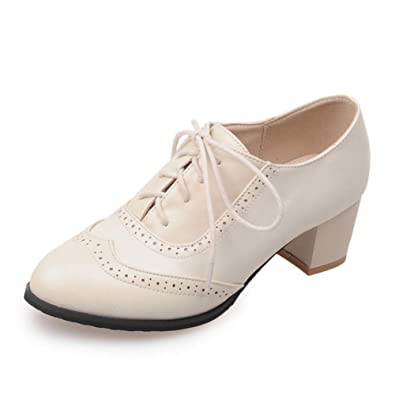 610f9de4d666 Kaloosh Women's Fashion Lace Up Carving Block Heels Oxfords Daily Dress  Retro Brogues Shoes: Amazon.co.uk: Shoes & Bags