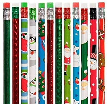 XMAS CHRISTMAS PENCILS WITH ERASER TOPS TEACHER SCHOOL GIFT FAIR STOCKING FILLER