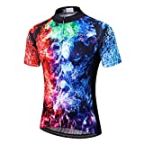 BIYINGEE Men's Cycling Jersey Short Sleeve with Big Reflective Tape Ice Flames Size L