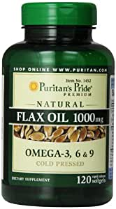 Puritan's Pride Premium Natural Flax Oil 1000 mg Omega-3, 6 & 9 Cold Pressed, 120 Softgels