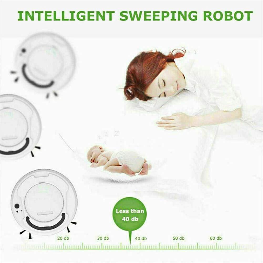 LUOXU Robot De Balayage Intelligent, Aspirateur De Charge, De Petits Appareils Ménagers Sweeper pour Les Types De Nettoyage des Sols, Tapis Et Les Carreaux White