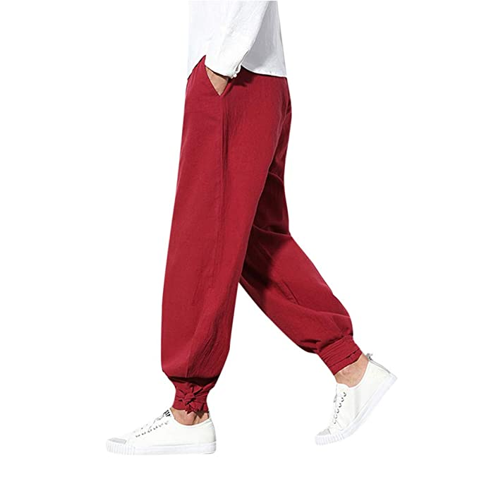 Amazon.com: Pants,Mens KpopBaby Pure Color Trousers Cotton Linen Small Feet Loose Casual Lantern Pant Trousers Loose Pants with Pocket: Clothing